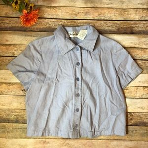 Vintage Victoria Holley crop top linen shirt